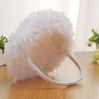 Fiore della piuma bianca dello struzzo Ragazze carrello rotondo elegante fiore di seta carrello Wedding accessorio di favori di nozze
