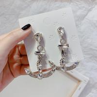 Bling Bling Crystal Boat Anchor Stud Earring voor Dames Rhinestone Anchor Earring Mode-sieraden Gift voor Love Girlfriend-accessoires