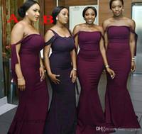 2019 país sul africano para verão vestido de dama de honra quente borgonha uva sereia convidado convidado convidado de honra vestido mais tamanho feito sob encomenda