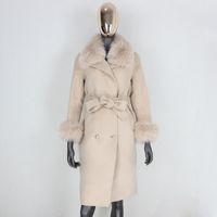 Lanas de las mujeres combinaciones CXFS 2021 Cashmere Real Piel Abrigo Doble Breasted Chaqueta de invierno Mujeres Natural Collar y puños Streetwear