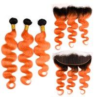 Silanda Hair Ombre #t 1b / Orange Ciało Wave Remy Human Hair Weaves 3 Weaving Bundles Z 13x4 Koronki Frontal Zamknięcie Darmowa Wysyłka