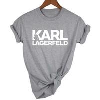 FASHION- Designer imprimé femmes T-shirts Lagerfeld O-cou à manches courtes pour femmes Hauts pour dames d'été RIP T-shirts occasionnels