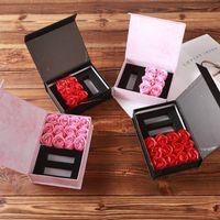 Voltear gama alta Jefes Rose del lápiz labial Caja de regalo jabón de la flor de las flores artificiales Pétalos de baño Caja para la madre del / de San Valentín regalo del día d
