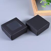 50pcs regalo cartone cartone pacchetto con finestra in PVC white box di carta pieghevole kraft nero craft weddy box box imballaggio
