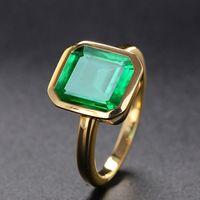Anéis esmeralda naturais da cor do ouro de 18k para mulheres vintage real prata 925 anel mens marca de jóias aniversário