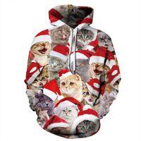 ALMOSUN Weihnachtskatze Tiere 3D All Over Print Crewneck Pullover Hipster Street Pullover Damen Herren Bekleidung