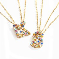 Anfangsbuchstaben Name Anhänger Halsketten Frauen Rhinestone Englische Alphabete Choker Halskette Gold Farbe Neue Design Modeschmuck Geschenk für Mädchen