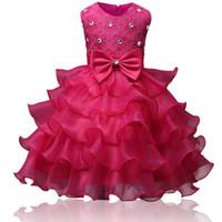 Ball Gown Flower Girl Abiti Abiti Bella bordeaux Rosso Bianco Vestiti da menta Avorio con pizzo Bow Tutu Abiti da ballo in magazzino a buon mercato da 6m a 10 anni