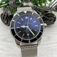 Super y Ocean Series Fecha Relojes para hombre 47mm Gran dial negro Calibre 20 Índice automático Reloj de pulsera de pulsera de malla de acero inoxidable