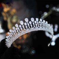 Moda Bridal Crystal Crown Headdress Queen Wedding Corona gioielli da sposa gioielli per capelli Accessori per capelli Tiara Zircon Hewpieces Nuovo