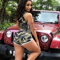 Woman Camouflage Print Sexy Outfits Lady Sleeveless Drawstri...