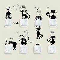 Cute Cats Light Switch Phone Wall Stickers For Kitchen Room ...