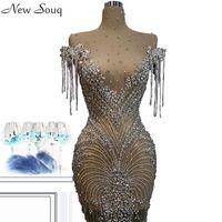 Luxus voller Kristall Illusion Abendkleider Sexy Sehen Sie durch hohe Ansatz Knie-Längen-Nixe-Abend-Kleider nach Maß Couture