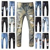 Mens Marca Jeans afligido rasgado Biker Jeans Slim Fit Motociclista Denim For Men Fashion Designer Hip Hop por Homens