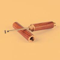 Botella de madera natural del metal Cuchara Tabaco Snorter Sniffer de contenedores caja de la caja de almacenamiento portátil pala cucharada para Spice Miller fumadores Herramienta