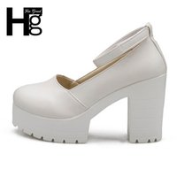 HEE GRAND Buckle Platform Thick High Heels Square Heels Pump...