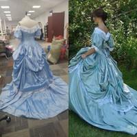 Hecho a la medida de los vestidos de boda meridional de la belleza Victorian Civil nupcial de Steampunk Un vestido de bola Línea Guerra falda de tafetán y encaje retro de la vendimia barato