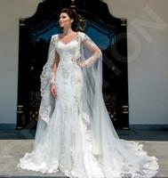 2020 Kadınlar Dantel Aplike Gelin Sararları Custom Made Katedrali Düğün Cape Şallar Beyaz ve Fildişi Gelin Ceket