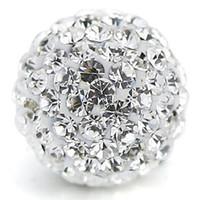 Perle di argilla in cristallo ceco della palla della palla della palla di cristallo della palla di cristallo di Shamballa di Shamballa (100pcs, 10mm, Bianco chiaro)