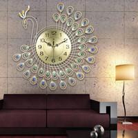 Ev Salon Dekorasyon DIY Saatler El Sanatları Süsler Hediye 53x53cm için geniş 3D Altın Elmas Peacock Duvar Saati Metal İzle