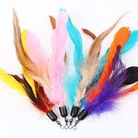 Farbe Mehrkatzenspielzeug Vogelfeder Kunststoff-Stab Kunststoff Diy Catstoys Teile Katzenbedarf 18cm Heißer Verkauf 1 07ttE1