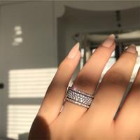 بالجملة، فيكتوريا Wieck مجوهرات فاخرة 925 فضة نجم مهد الأبيض الياقوت CZ الماس الخلود المرأة الزفاف خاتم الزفاف هدية مجموعة