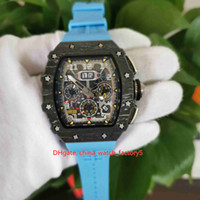 우수한 최고 품질의 시계 클래식 50mm x 44mm RM11-03 RM 11 52 NTPT 탄소 섬유 해골 고무 투명 기계 자동 망 시계 남성 손목 시계