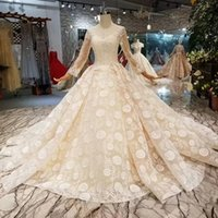 Appliques Champagne Wedding Gown With Long Train O- Neck Long...