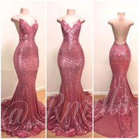 2019 Criss Cross Backless Mermaid Prom Dresses Spalline in oro rosa Abiti da sera lunghi Sequin Plus Size Pageant Abito da damigella d'onore