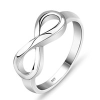 New Sterling Silver Infinity Ring Sign Charm Band Ring for W...