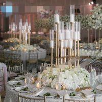 Stickdrop da sposa Stick 12 teste Candelabra Arredamento del corridoio di nozze Gold Tall Evento Tavolo Centerpieces per le mune di nozze Senyu0463