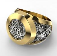 Anello massonico monili dell'acciaio inossidabile Moda Uomo massone simbolo G Templari Massoneria Anelli