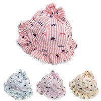 Pescador Niño dulce del cordón de las muchachas del sombrero del cubo del bebé del casquillo del sombre Para bebé recién fotografía apoya los niños Sun Gorra Enfant