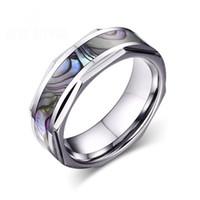 Nouveaux hommes anneaux bagues en carbure de tungstène avec shell shinning main anneaux en acier inoxydable poli bijoux pour hommes