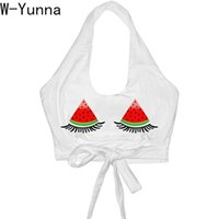 vente en gros 2019 blanc Womens Débardeurs Watermelon Eye 3D Impression numérique Backless Strap Gilet U-cou Slim Sexy Crop Top