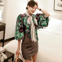 Conjuntos de flores de primavera de impresión del Bowknot La mitad de la linterna de la manga blusa suelta Mini ajustado de la falda irregular de dos piezas vestido de las mujeres