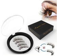 4 Magnetic Cílios Extensão Natural cílios falsos em Falso Magnetic Magnets reutilizável 3D Eye Lashes Maquiagem
