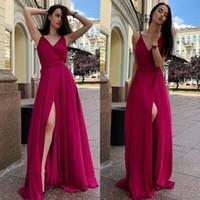 2019 Bahar Yaz Ucuz Nedime Elbiseler Bir Çizgi V Boyun Ön Bölünmüş Akşam Balo Abiye Düğün Konuk Elbise