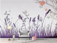 фиолетовый цветок обои персональный стереоскопический 3D линия wallppaers ТВ фон стены современные обои для гостиной
