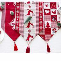 35 * 170 cm Noel Keten Masa Bayrağı Pamuk Keten Masa Örtüleri Düğün Dekorasyon Masa Koşucu Ev için Noel Dekorasyon