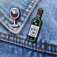الوقت النبيذ البسيطة لطيف وكؤوس النبيذ زوجين بروش دبابيس النبيذ الاحمر كوب زجاجة الزينة المينا دبوس شارة لمحبي أفضل صديق دبابيس