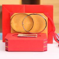 Neue Modemarke Titan Stahl Schraube Liebe Armband Liebe Armreif Frauen Mann Armband Diamant Armreifen mit Schraubendreher mit Originalverpackung