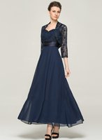 2020 Tea-length 3/4 Long Sleeve Dark Blue Chiffon Lace With Lace A-line Mother Of The Bride Dress Dark Navy Mothers Dresses