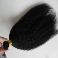 "14 ""18"" 20 ""22"" 24 «грубый яки Remy кератина я Подсказка Kinky прямые Extensions волос Pre Natural Human Hair Extension 100 шт"