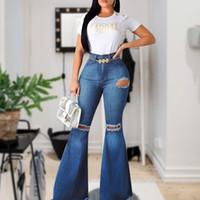 Jeans Flare-Leg Mulheres Novas Jeans De Cintura Alta Fundo Rasgado 2020 Para Mulheres Denim Magricela Mãe Pernas Largas Calças