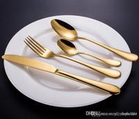 ouro de alta qualidade / Rose talheres de ouro talheres definir colher faca garfo colher de chá de aço inoxidável jogo de jantar utensílio de cozinha