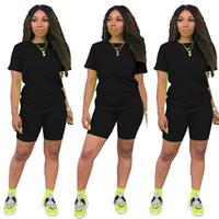 Kadın Yaz Jumpsuit Rompers Kulübü Kıyafetler Katı Renk Kısa Kollu T Shirt Şort Spor Seti 2 Adet Şort Seti