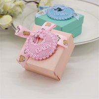 96pcs / lot 티파니 블루와 핑크 Bibs 장식 아기 샤워 호의 선물 사탕 상자 생일 파티 과자 초콜릿 청록색 선물 상자