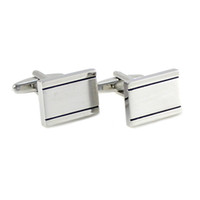 Brushed Silver Tone Black Lines Rectangle Cufflinks Father&#...