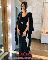 2020 네이비 블루 새틴 인어 이브닝 드레스와 케이프 섹시한 V 목 플러스 사이즈 정장 이브닝 가운 우아한 특별한 댄스 파티 파티 드레스